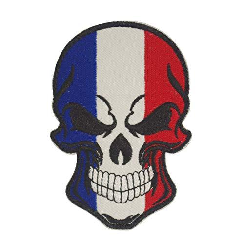 Cobra Tactical Solutions Military geborduurd patch doodshoofd Frankrijk vlag met klittenbandsluiting voor Airsoft paintball voor tactische kleding rugzak