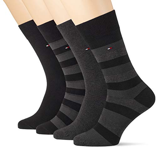 Tommy Hilfiger Herren TH MEN STRIPE BOX 4P Socken, Schwarz (Black 200), 43/46 (4er Pack)