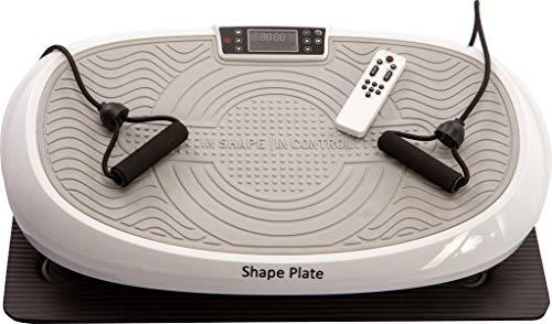 Shape Plate Vibrationsplatte 7in1 | weiß | 3D Vibration + Oszillation + lineare Vibration | 3 Motoren | Fernbedienung | Bodenmatte | platzsparend und leise