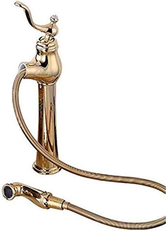 Moderne Wasserhahn Einhand Wasserhahn Waschbecken Wasserhahn Waschbecken Wasserhahn Trog Waschbecken Wasserhahn ausziehbare Messingmischer Gold