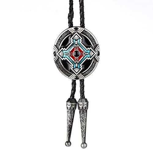 Tifanyyg Retro Style Indian Totem Krawatte Totem Krawatte Clip-Legierung Clip Leder geflochtenen Seil Bolo Krawatte binden Dekorationen