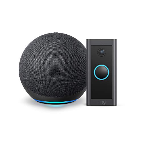 Ring Video Doorbell Wired bundle with Echo Dot (Gen 4) - Charcoal