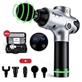 Massage Gun for Athletes, 20 Speeds Deep Tissue Massager Gun for Muscle Deep Relaxation, Cordless Handheld Electric Percussion Massage Device for Neck Back Leg Muscle,Carry Case & 5 Heads