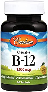 Carlson Labs Masticable B-12. 1000Mcg 90 Unidades 90 g