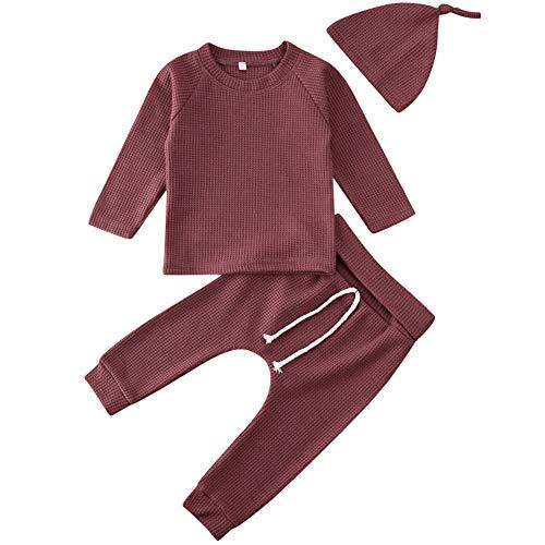 Carolilly Baby Kinder Mädchen Jungen Schlafanzug Pyjama Langarm Oberteil Hose Hut Einfarbig Herbst Winter