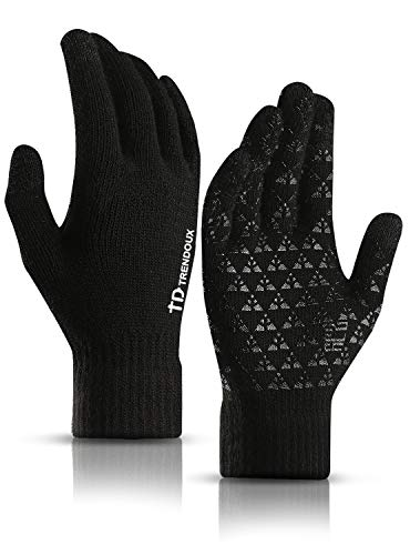 TRENDOUX Driving Gloves, Unisex Knit Winter Touchscreen Glove Men Women Texting Smartphone - Elastic Cuff - Thermal Wool Lining - Stretchy Material Black - L