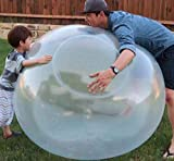 Vercico 110cm Inflatable Water Bubble Balloon Inflatable Bubble Ball Water Filled Interactive Rubber Big Bubble Ball Inflatable Ball for Kids Toddles Blue