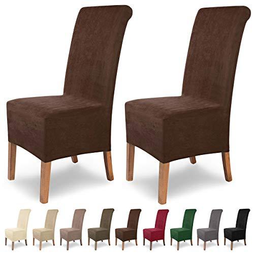 SCHEFFLER-Home Stretch Stuhlhusse Leon   2er Set elastische Stuhlabdeckungen aus Wildleder   Stuhlhussen Schwingstühle   Spannbezug mit Gummiband   Elegante Stuhlbezüge