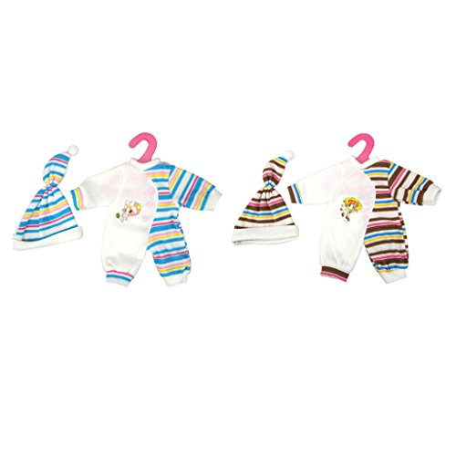 Sharplace 2 Set Puppe Gestreifte Overalls & Hut, Puppen Pyjamas Schlafanzug für 35-40cm Puppen Outfit ( Kaffee + Blau )