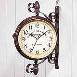 FFYN Reloj de Pared Retro Redondo de Hierro, Reloj de Pared rústico de Doble Cara de Estilo Americano, Reloj Decorativo silencioso para Colgar en la Pared, para decoración del hogar en