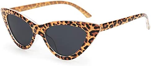 Livh Retro Vintage Narrow Cat Eye Sunglasses for Women Clout Goggles Plastic Frame Leopard product image