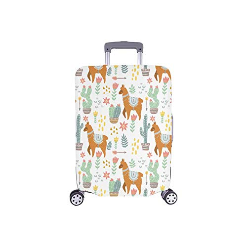 InterestPrint Hippie Alpaca Llama with Cactus Flowers Travel Luggage Protector Baggage Suitcase Cover Fits 18'-21' Luggage
