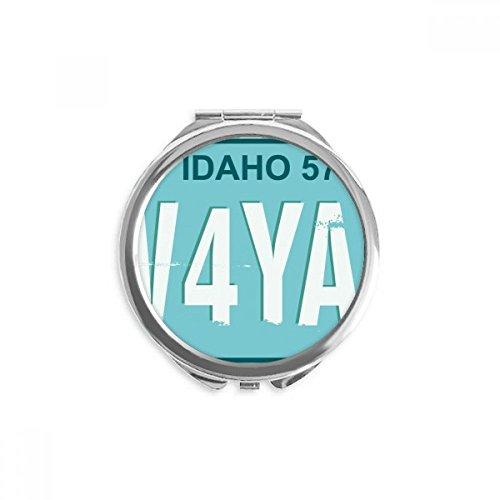 DIYthinker american plate usa voiture numéro de licence miroir rond maquillage de poche à la main portable 2,6 pouces x 2,4 pouces x 0,3 pouce Multicolore