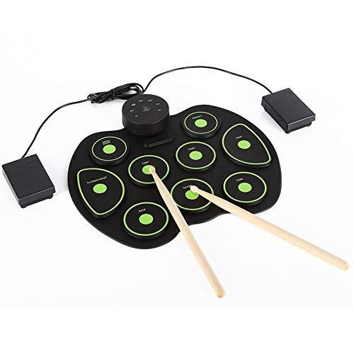 Zhongsufei Kit de batería Enrollable Roll Up Drum, Tambor electrónico de Rollo electrónico con parlantes Integrados, Pedales, Baquetas y Fuente de alimentación Kits de batería Midi Pad de práctica