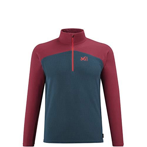 MILLET K Lightgrid PO M Fleece Jacket, Orion Blue/Tibetan Red, L Mens