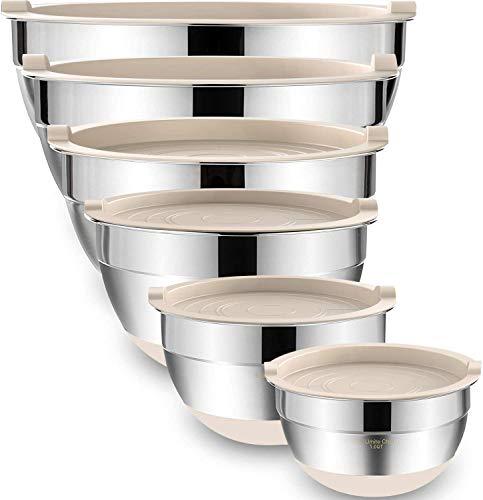 Umiten Rührschüsseln mit luftdichten Deckeln, 6-teiliger Edelstahl-Metallschalen-Chef, Messmarken zerfeste Qualitätsgröße 7, 3,5, 2,5, 2,0,1,5, 1QT, ideal zum Mischen und Servieren (Khaki)
