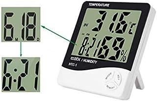 جهاز رقمي لقياس درجة الحرارة والرطوبة للمنزل مع ساعة منبه مزود بشاشة ال سي دي - HTC-1
