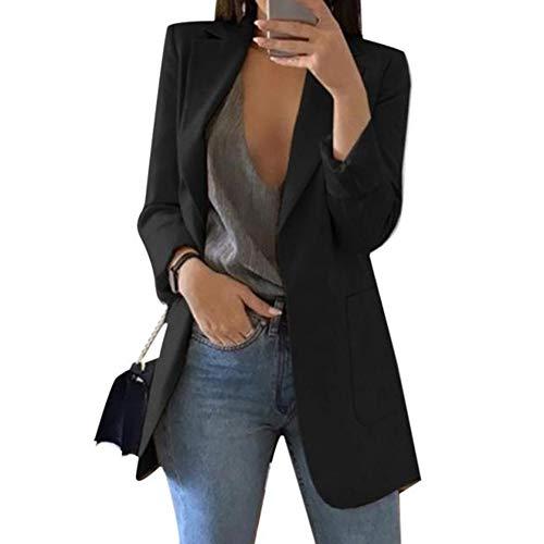 Veste Blazer Longue Femme à Manches Longue Cintré Doté Deux Poches Chic De Costume Casual...