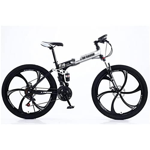 WANYE Bicicleta De Montaña De 26 Pulgadas, Neumático a Prueba De Explosiones, Engranajes De 21/24/27/30 Velocidades, Bicicleta De Ciclismo, Bicicleta De Cross Black white-24speed