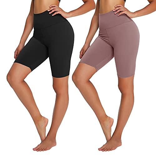 Campsnail Radlerhose Damen Kurze Leggings High Waist Hotpants Unterhose Blickdicht Sportshorts Sommer für Yoga Joggen Pilates Fitness(2er-Schwarz&Beige, XL-3XL)
