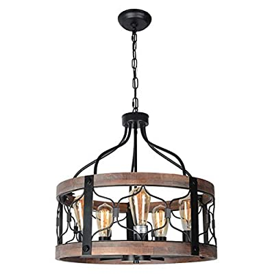 Beuhouz Round Farmhouse Rustic Chandelier Lighting, Black Metal and Wood Drum Pendant Light Fixture Industrial Dining Room Cage Chandelier Light 5 Lights Edison E26 8045