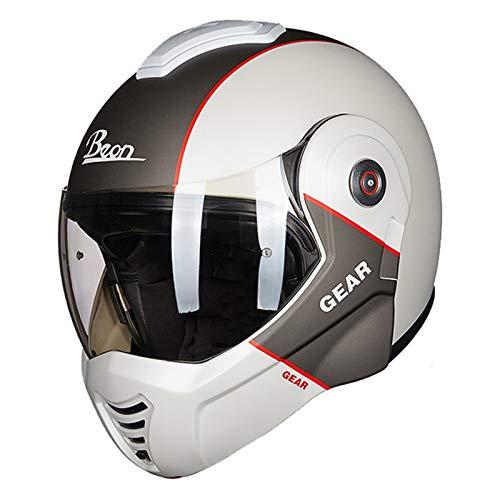 ZLYJ Valiant SCONVERT Casco Frontal Abatible para Motocicleta con Doble Visera Casco Integral para Motocicleta Matt Black Aprobado por ECE E,M(55-56cm)