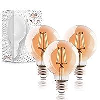 𝐄𝐋𝐄𝐆𝐀𝐍𝐓𝐄𝐒 𝐑𝐄𝐓𝐑𝐎 𝐃𝐄𝐒𝐈𝐆𝐍: Die Retro Glühbirne LED E27 ist dem Stil der originalen Edison Glühbirne nachempfunden. Ihre sinnliche Kugelform aus warmem bernsteinfarbenen Glas und die wunderschönen geraden Filamente kreieren ein einzigartiges Licht! 𝐈𝐌𝐌𝐄...