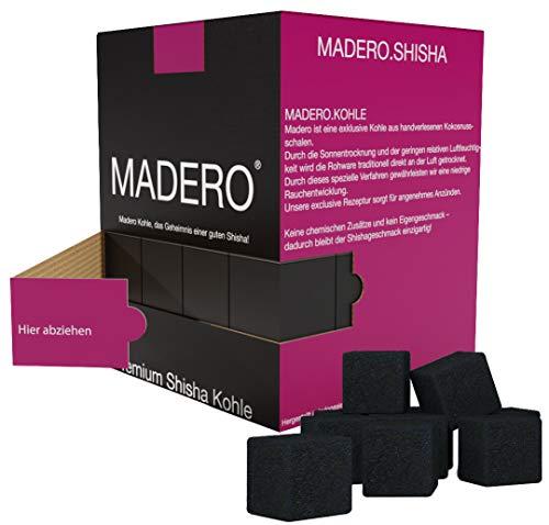 MADERO ® Shisha Kohle - Premium Kokosnuss Naturkohle – Geschmacksneutral, Lange Brenndauer & Saubere Hände - 1KG