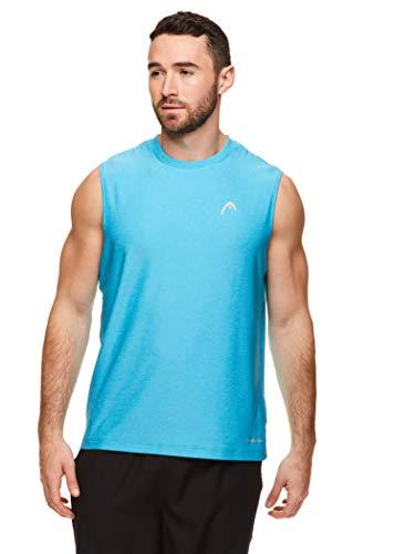 HEAD Men's Hypertek Gym Tennis & Workout Muscle Tank - Sleeveless Activewear Top - Score Cyan Blue Heather, Large
