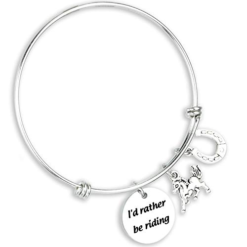 Ahaeth Horse Bracelet Horse Jewelry I'd Rather be Riding Equestrian Jewelry Horse Keychains for Men Horse Riding Accessories for Men Women Horse Lover Gifts Horse Jewelry for Girls Boys