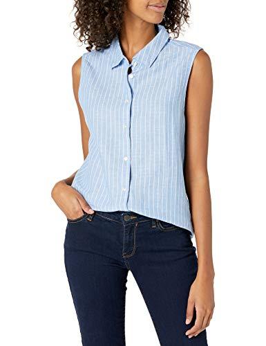 Amazon Essentials Sleeveless Linen Shirt Camisa, Rayas Azules francesas, XXL