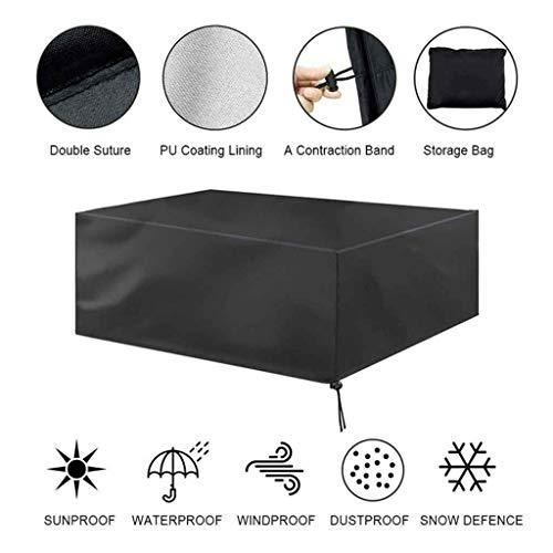 Wwjpet Funda Muebles Jardin Impermeable Protector Mesa Apilables Anti-UV Resistente al Polvo 210D Oxford para Jardin Mesas Sillas Sofás Exterior Negro,Negro,80 * 80 * 70cm