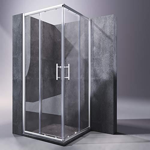 SONNI 76x76cm Duschkabine Eckeinstieg Doppel Schiebetür Echtglas Duschwand Duschtür Dusche