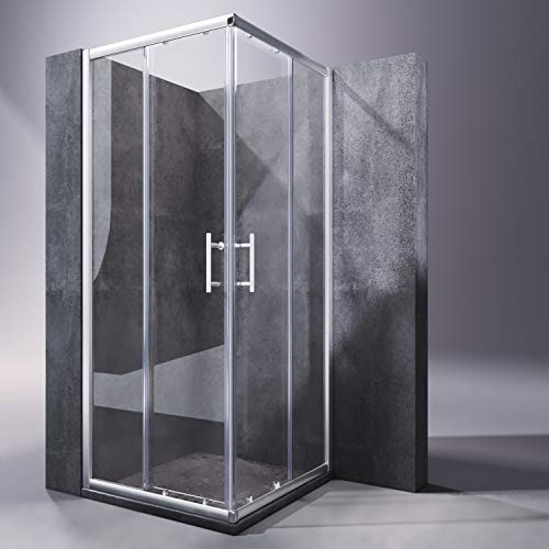 SONNI Mampara Ducha 80x70cm,Angular Puertas Corredera,Cabina de Ducha Retangular con Vidrio Templado de Seguridad 5mm