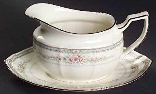 NORITAKE ROTHSCHILD GRAVY BOAT & STAND. SET OF TWO