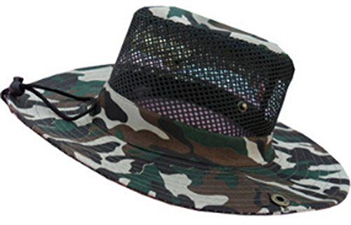 Summer Fold-Up Brim Flap Hat Sun Hat Protection for Outdoor Camp Army Green