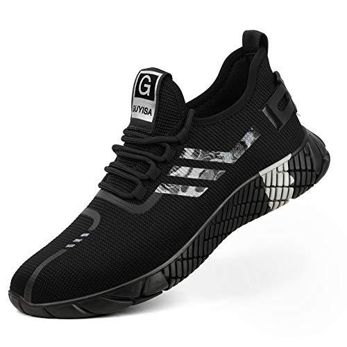 Zapatoes de Seguridad Hombre Unisex Zapatos de Trabajo Zapatillas con Punta de Acero Cómodos Ligeros y Transpirables(Negro, 40)
