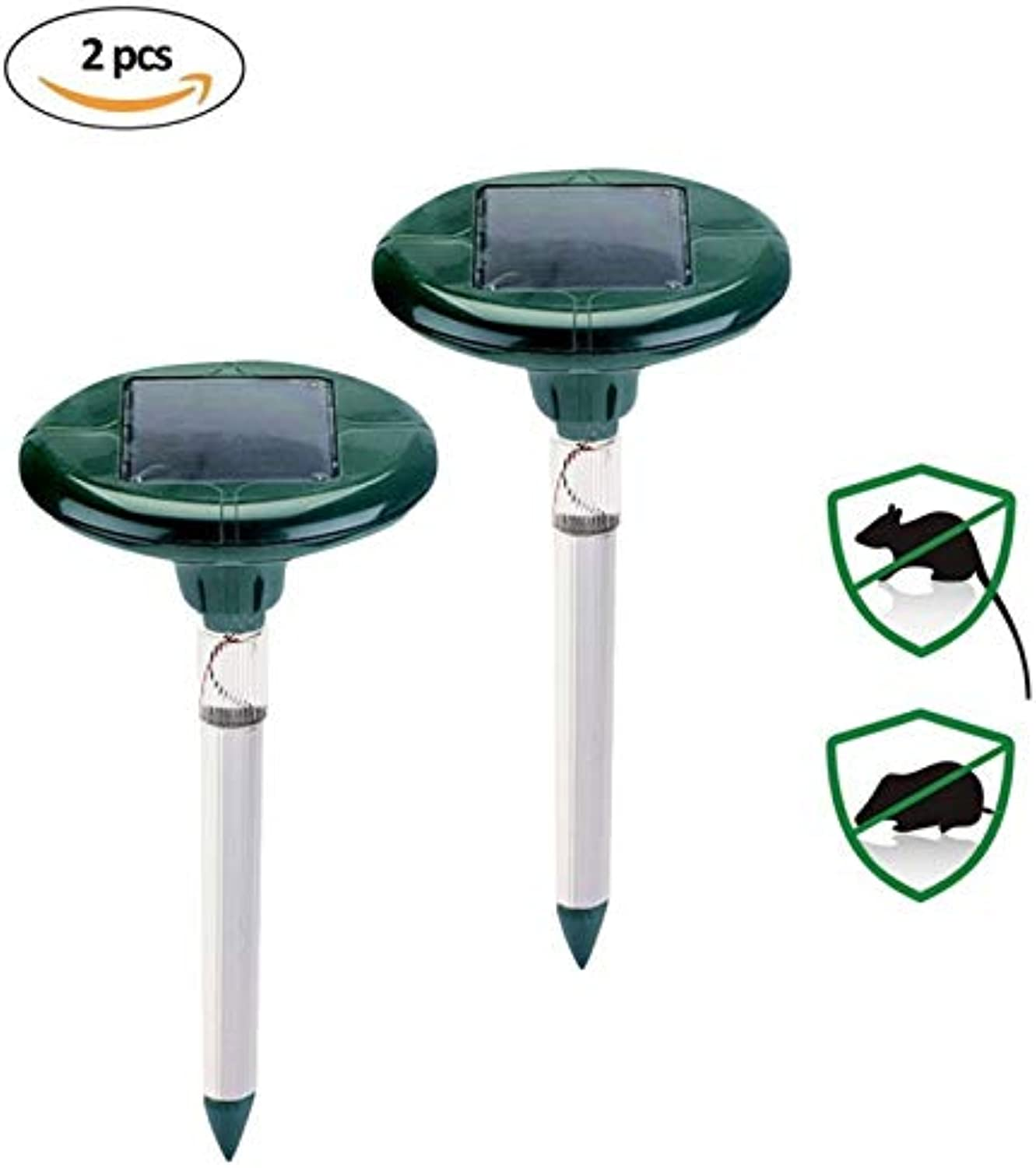 New 2pcs Solar Powered Mole Repeller with LED - Sonic Pest Repellent Stake Scares Away Snakes Moles Voles Gophers & Rats Garden