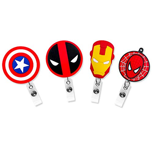 Finex 4 Pcs Set Retractable Badge Holder ID Badge Reel Clip On Card Holders - Captain America Shield Siperman Deadpool Iron Man