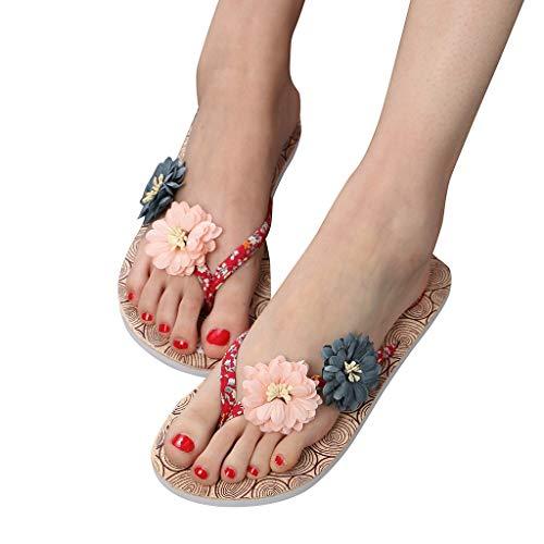 FeelFree+ Sandalias de Chanclas Mujer Florecen Chanclas Verano Playa Sandalias de Piscina Apoyo Arco Ortopedicas Chanclas Zapatos Cómodos Caminar Antideslizante Casual Cómodas Cabeza Redonda