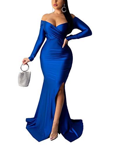 Sexy Dresses for Women Long Sleeve - Off Shoulder V Neck High Slit Party Evening Maxi Long Dress Blue S