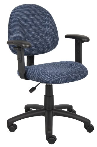 Boss Office Products Perfect Posture Delux Fabric Task Chair with Adjustable Arms in Blue