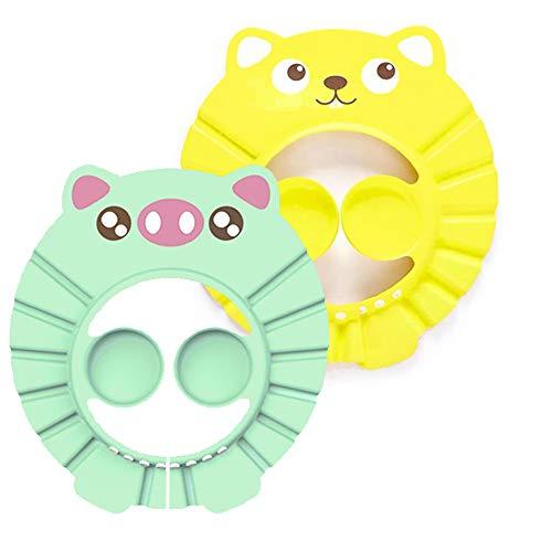 Duschhaube Kinder, Duschhaube Baby, Weiche Einstellbare Baby Duschhaube, mit Ohrenschutz Die Gesicht und Augen vor Wasser und Shampoo Schützt für Kleinkind Babypflege - Gelb, Grün (2 Stücke)