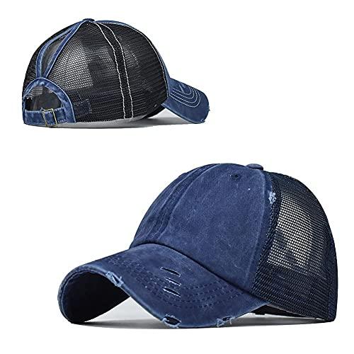 Gorra de béisbol de cola de caballo alta para mujer ajustable camionero malla lavado sombrero para hombres (agujero malla azul marino, 6 7/8-7 5/8)