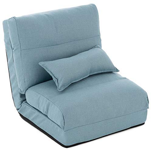 Schlafsessel 220x60x14 cm verstellbar Comfort Jugendsessel Gästebett klappbar Sitzsack Klappbett Sessel mit Kissen Bodensofa Lounger Einzelsofa Multifunktionsstuhl Farbe wählbar (Hellblau)