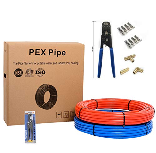 """Efield Pex Kit- 3/4 Inch X 200ft PEX Tubing (100ft Red + 100ft Blue),Crimper & Cutter Tools, 15 PCS 3/4"""" Brass Elbow & Coupling,Tee Fittings, 40 PCS 3/4"""" Cinch Clamps in Heavy-Duty Canvas Bag"""