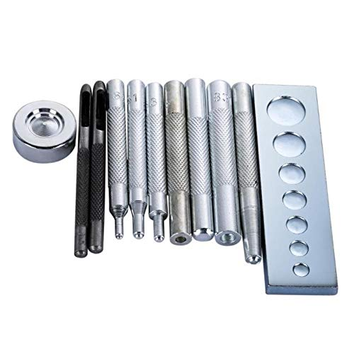 11pcs/Set DIY Leather Tool Die Punch Hole Snap Rivet Button Setter Base Kit Leather Craft Tools Hole Punches