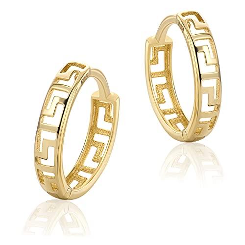 Kleine Griechische Schlüssel Creolen Gelbgold Aus 14 Karat 585 Gold Ohrringe H-166