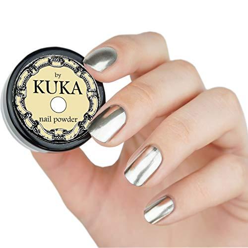Polvo cromado color plata para uñas con efecto espejo