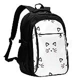fepeng Mochila de gato Personalidad con USB Mochila Portátil Bolsa Impermeable Mochila de Viaje para la Escuela, Negro, Talla única
